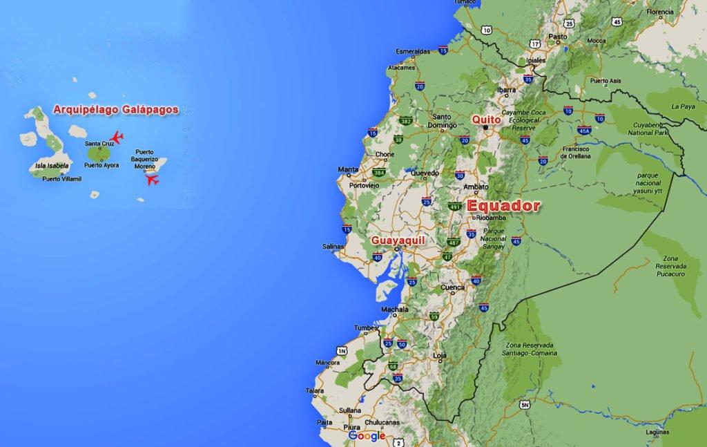 mapa mostrando arquipélago de galápagos