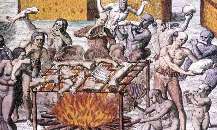 gravura de banquete de canibais no Brasil