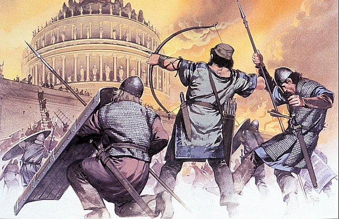 Ilustração de invasões barbaras a Roma
