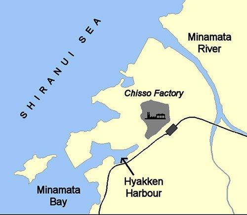 mapa da baía de Minamata, Japão