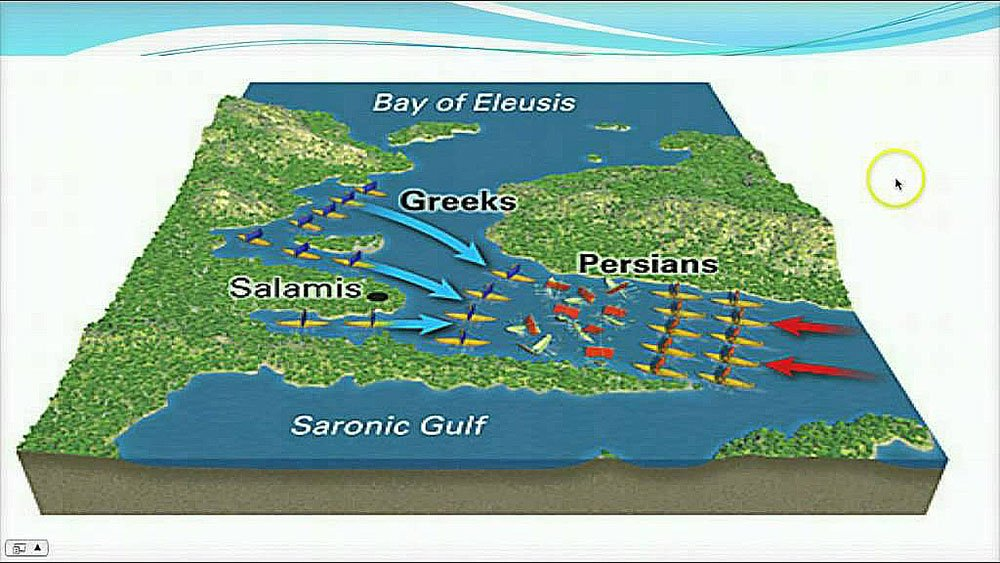 mapa da região da batalha de salamina