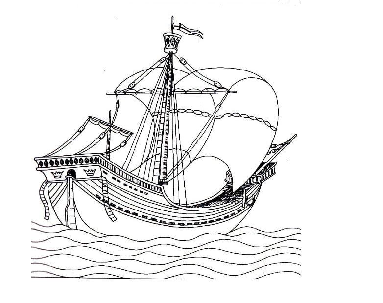 desenho de 'nau redonda' de veneza