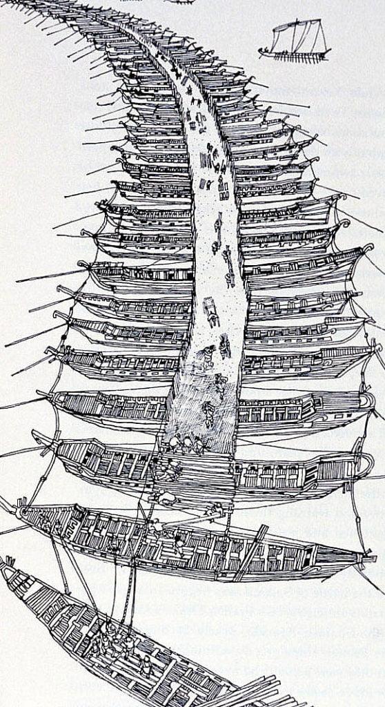 ilustração de pontes de barcos de Xerxes