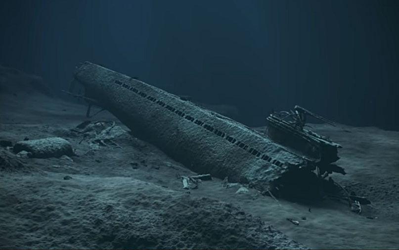 imagem de submarino naufragado no litoral da noruega