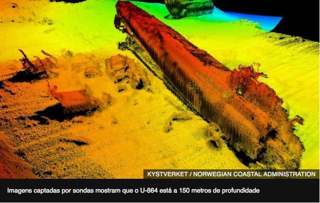 imagem do submarino naufragado no litoral da noruega