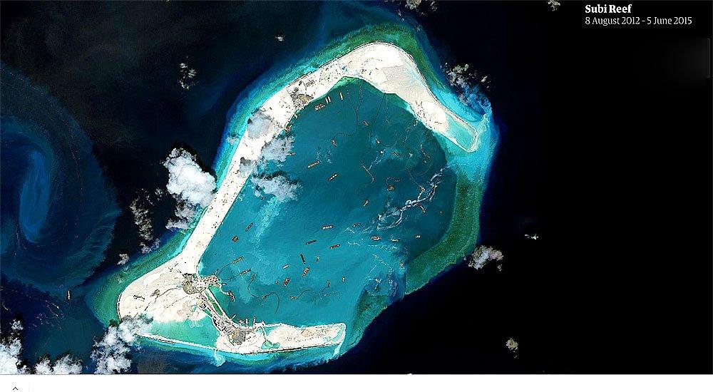 imagem de recifes Subi transformados em ilha artificial