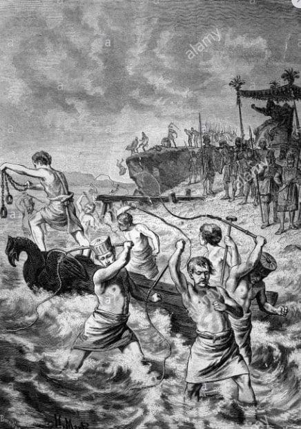 Ilustração mostra surra no mar ordenada por Xerxes