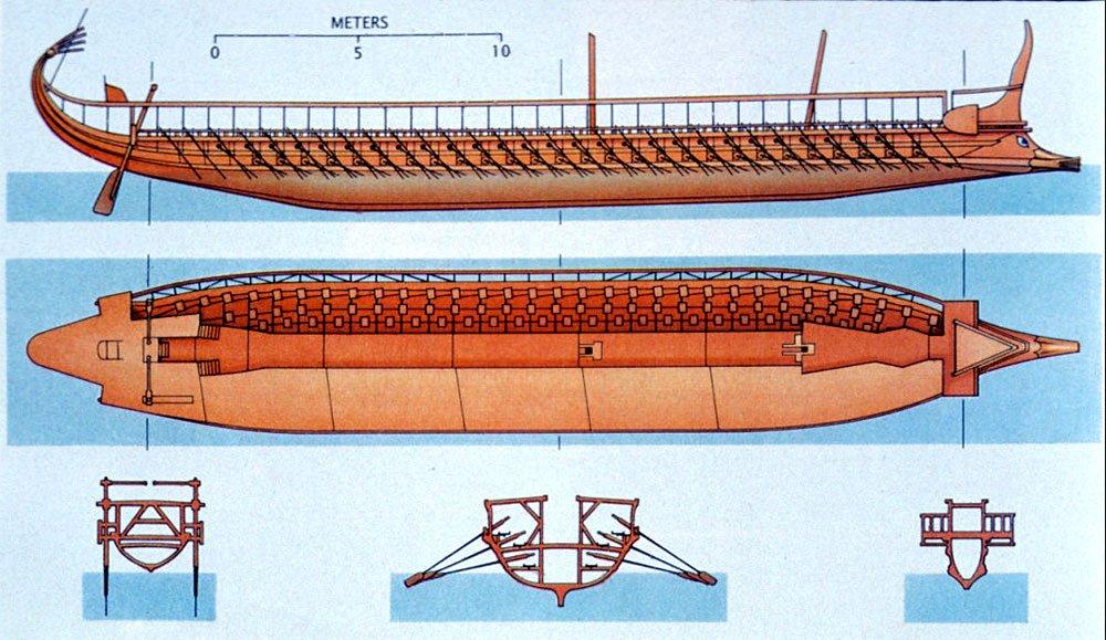 desenho de um trirreme grego