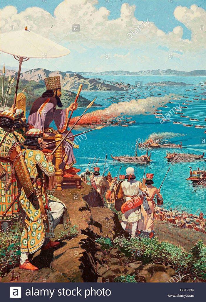 Ilustração de xerxes assistindo a batalha de salamina