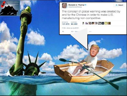 ilustração de donald trump remando um bote