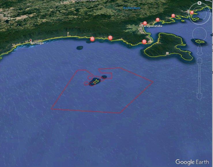 Imagem de mapa do Arquipélago de Alcatrazes reaberto ao público
