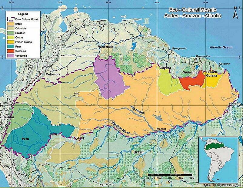 mapa da américa do sul destacando Corredor Andes-Amazônia-Atlântico