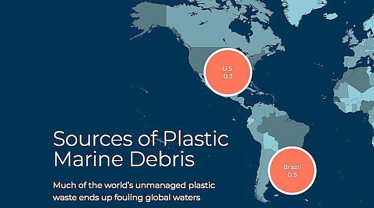 mapa da Aliança para o Fim dos Resíduos Plásticos mostra descarte de plástico nos USA e Brasil