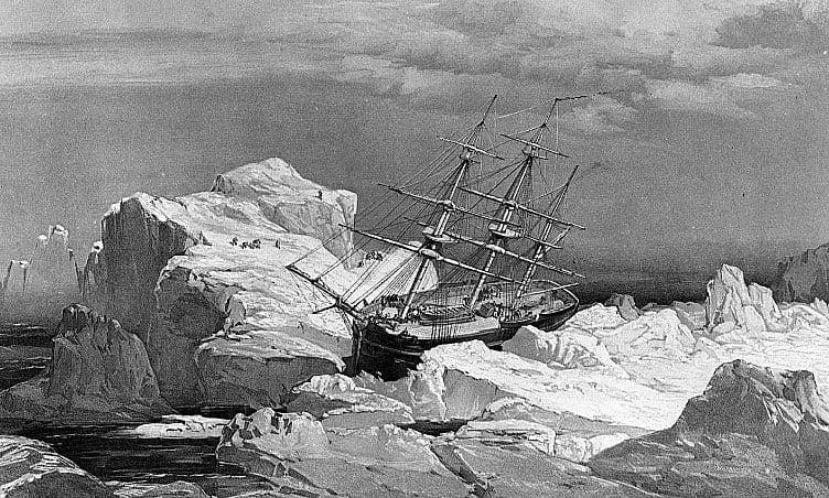 Imagem do HMS Investigator, preso no gelo na passagem do noroeste