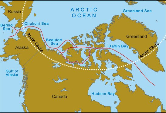 mapa da passagem do noroeste