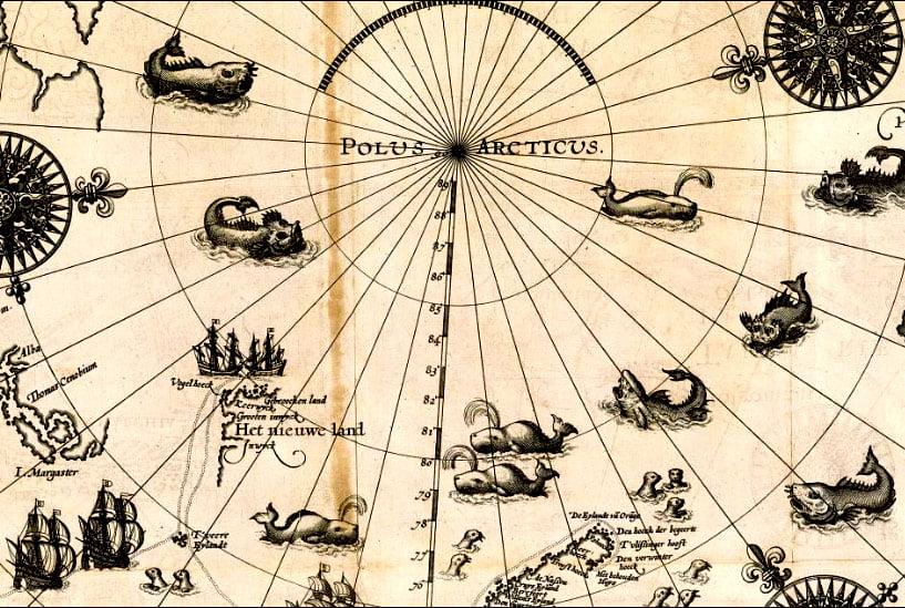 imagem de mapa da passagem do noroeste do século 16