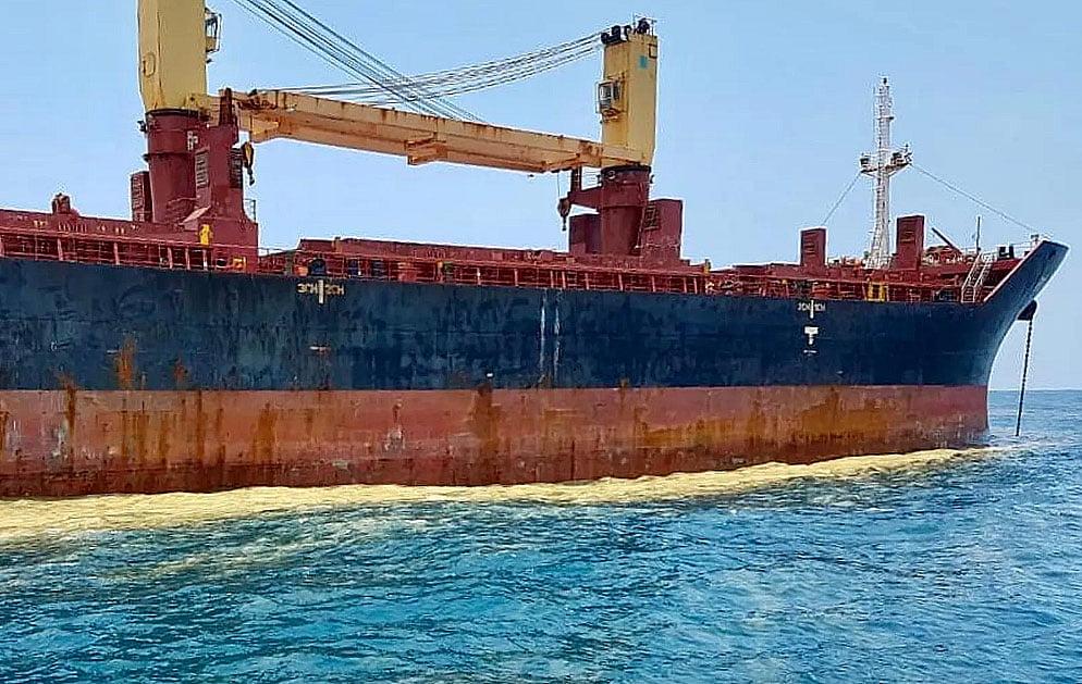 imagem de navio que poluiu Santos