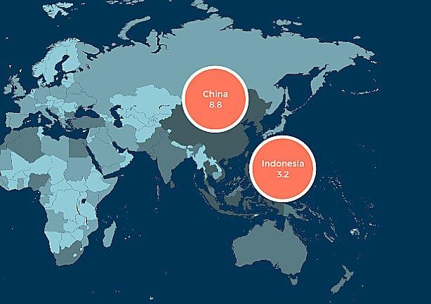 mapa da Aliança para o Fim dos Resíduos Plásticos mostra descarte de plástico na China e Indonésia