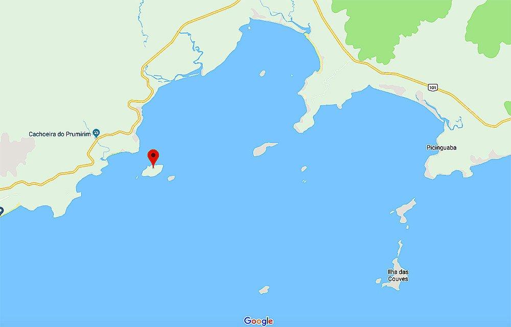 imagem de mapa das ilhas das Couves e do Prumirim, SP