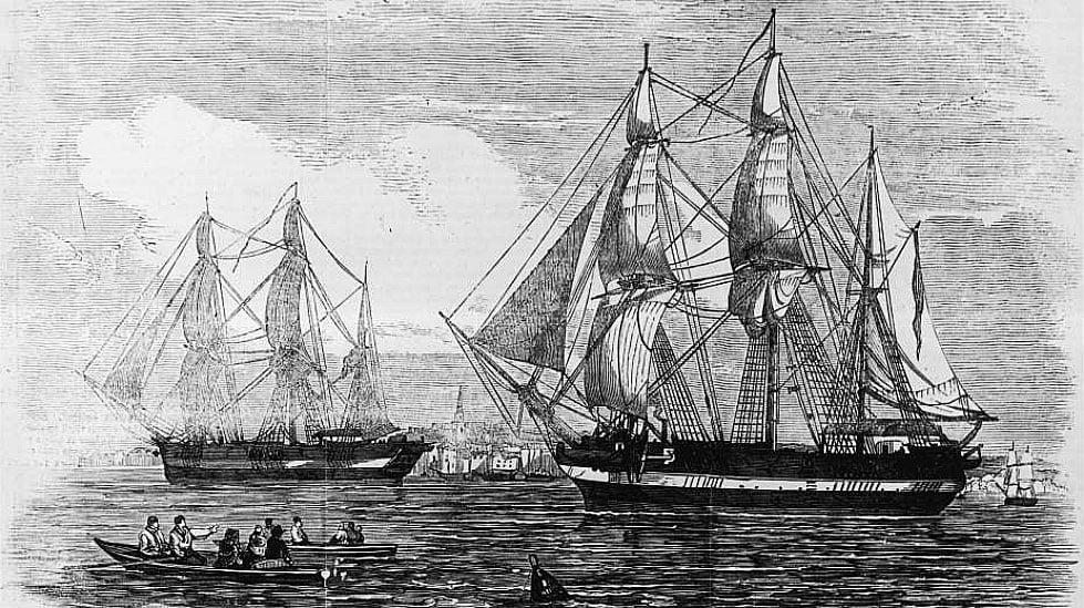 gravura dos dois navios de Franklin na procura da passagem do noroeste