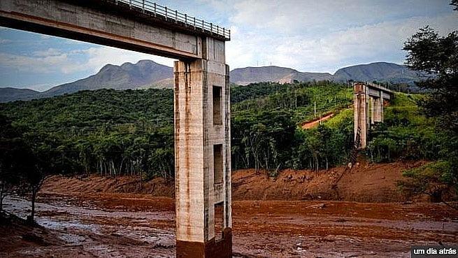 imagem de Ponte destruída pelo mar de lama da Nova barragem da Vale se rompe