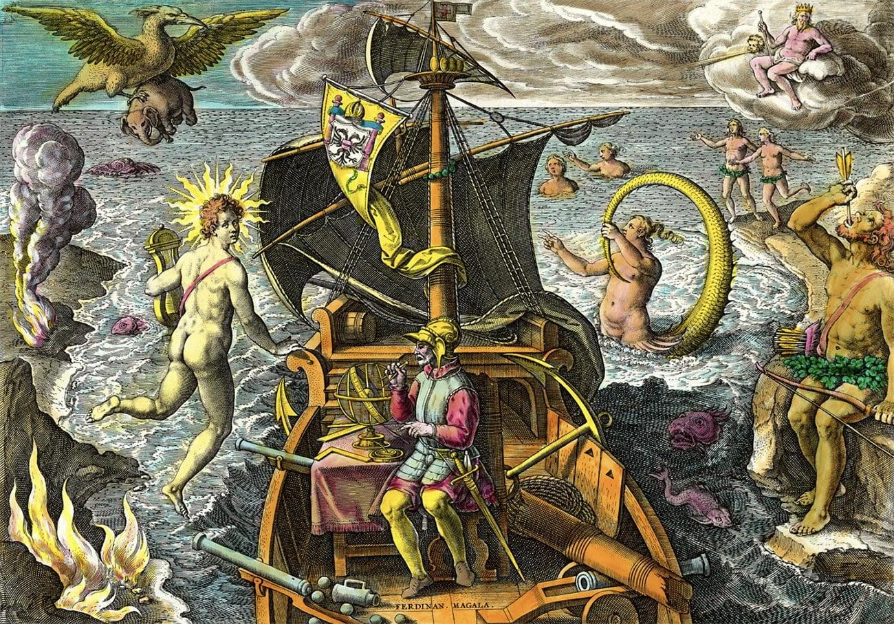 gravura alusiva a Fernão de Magalhães