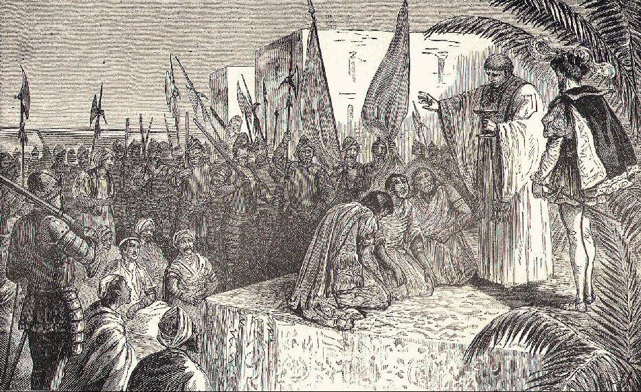 gravura de Fernão de Magalhães batizando reis