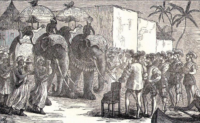 gravura representando a recepção de Fernão de Magalhães em Bornéo