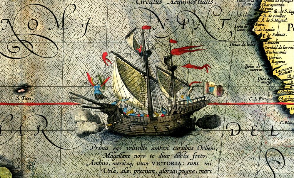 desenho alusivo a viagem de Fernão de Magalhães