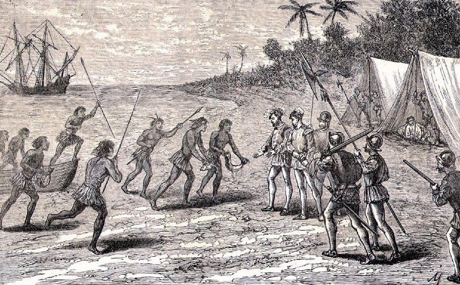 gravura de encontro de Fernão de Magalhães e os gentios