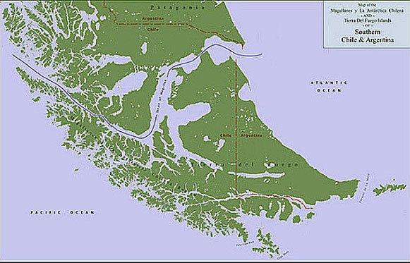 mapa mostrando o Estreito de Magalhães.