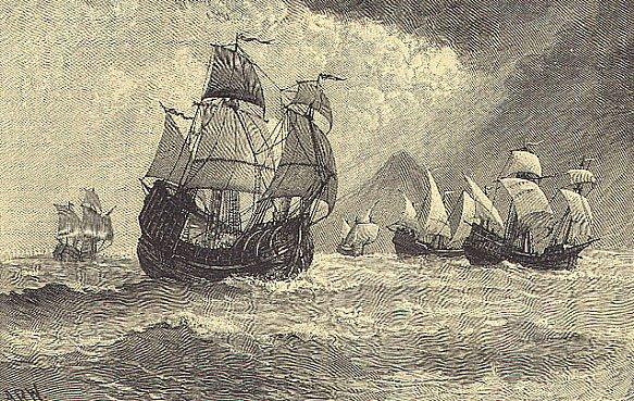 desenho da frota de Fernão de Magalhães.