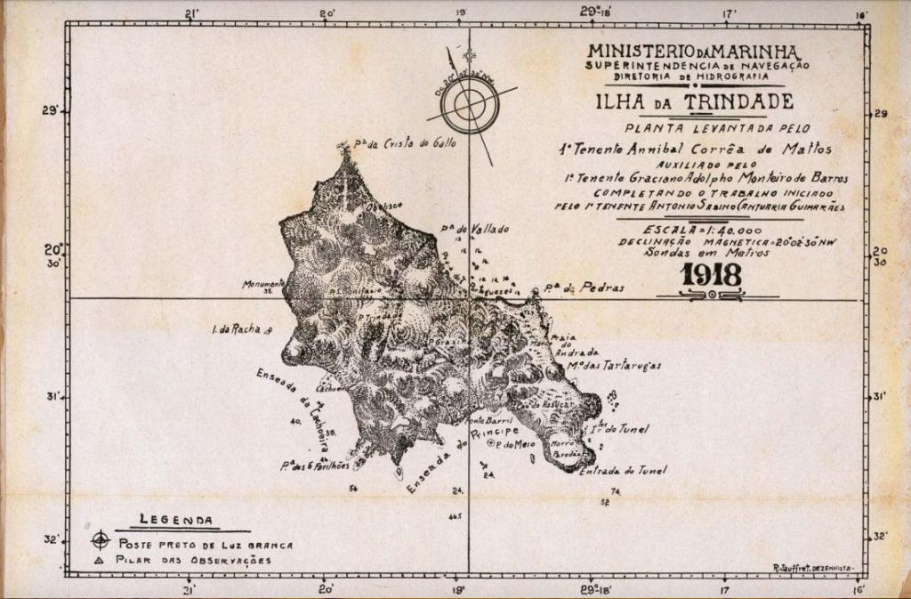 imagem de mapa antigo da ilha da Trindade