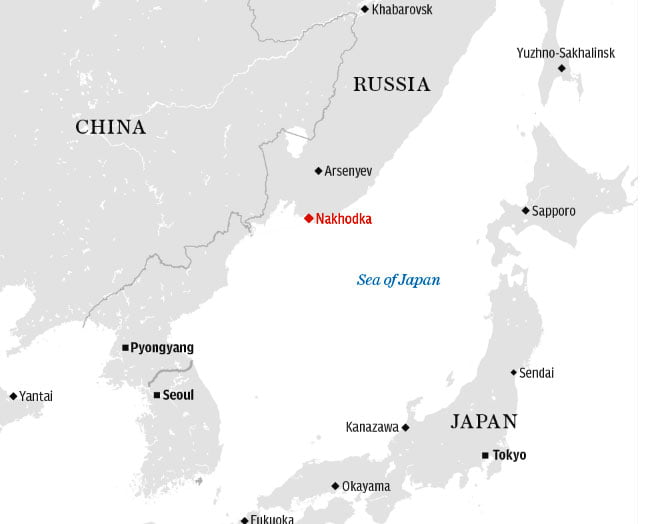 imagem de mapa mostrando litoral do Pacífico, da Russia