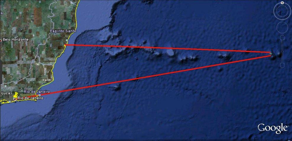 mapa da cadeia dorsal submarina Vitória Trindade.