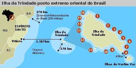 imagem de mapa do Brasil com ilha da Trindade