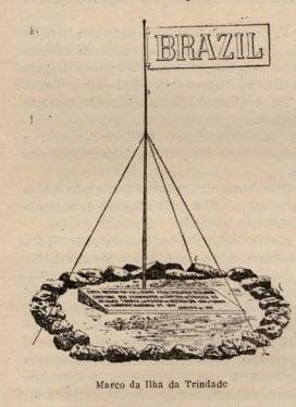desenho de marco brasileiro na ilha da Trindade