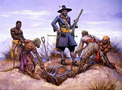 gravura do capitão Kidd enterrando tesouro na ilha de Trindade