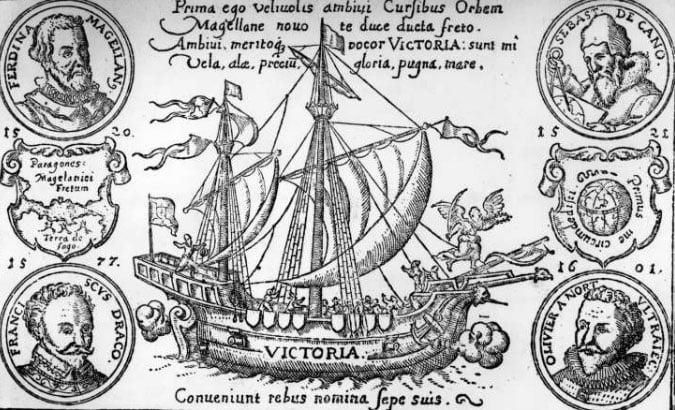 desenho do navio Victoria, de Fernão de Magalhães