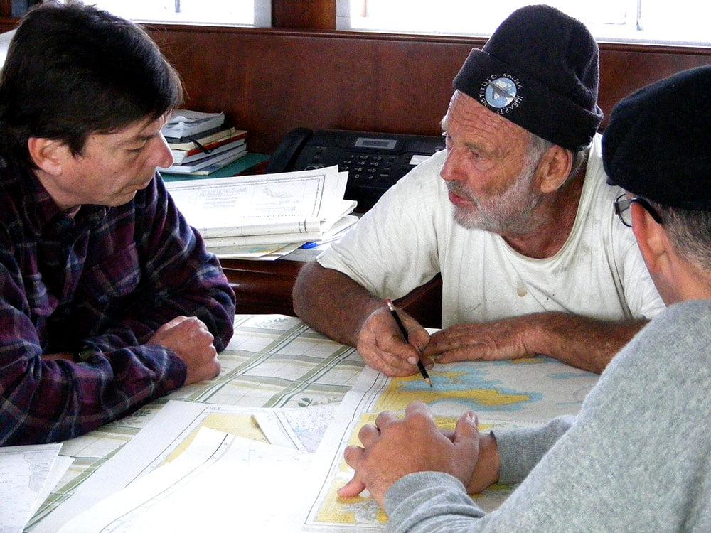 imagem de João Lara Mesquita e Oleg Bely a bordo do Mar Sem Fim