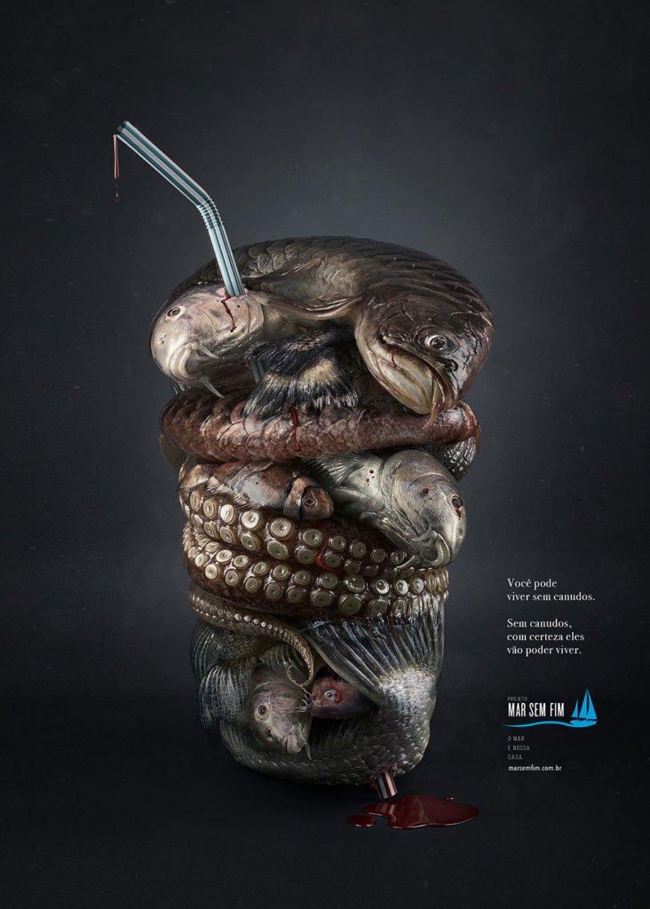 imagem de anúncio de canudinho de pleastico e vida marinha