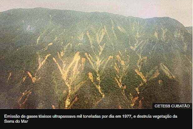 imagem da serra do mar ferida pela poluição de Cubatão
