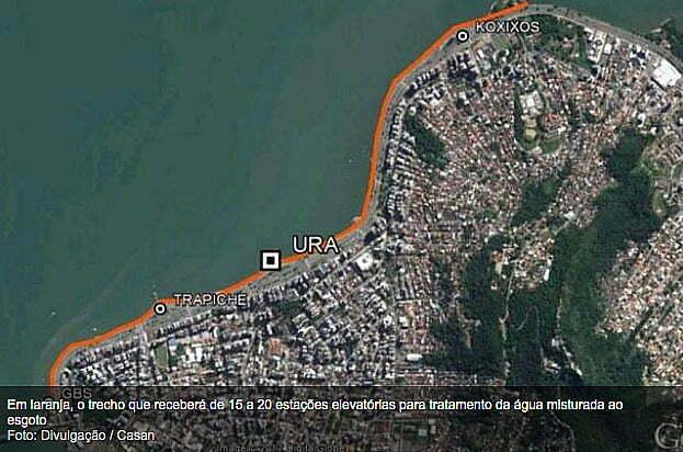 mapa de Florianópolis mostrando av beira- mar norte