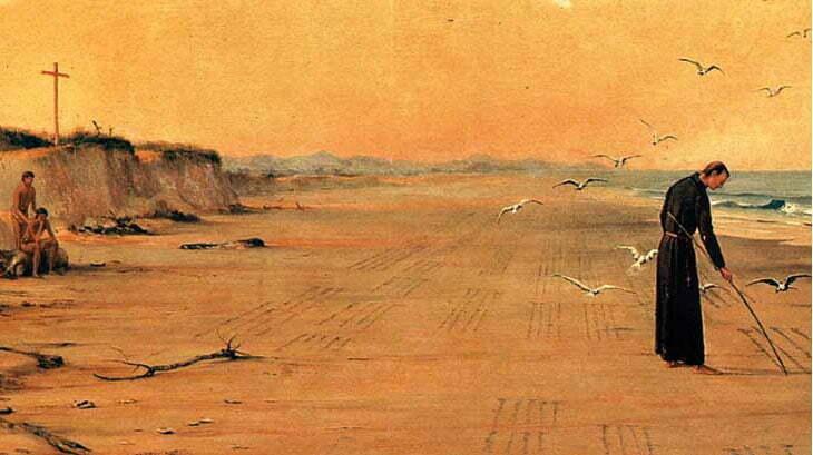 desenho de josé de anchietano escrevendo poemas na praia