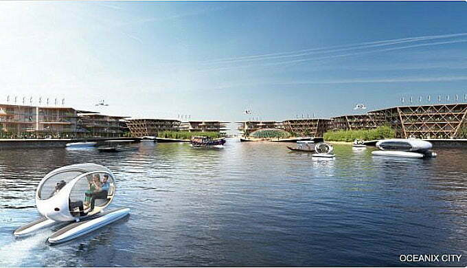 desenho de Cidades flutuantes sustentáveis da empresa oceanix