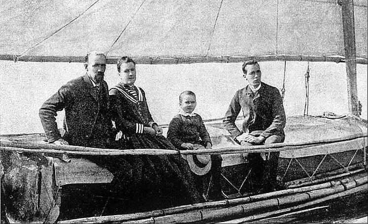 imagem da tripulação do Liberdade, Slocum, a mulher, e dois filhos.