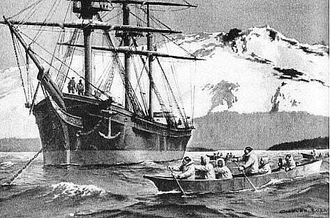 Imagem navio Washington, comandado por Joshua Slocum, no Alasca