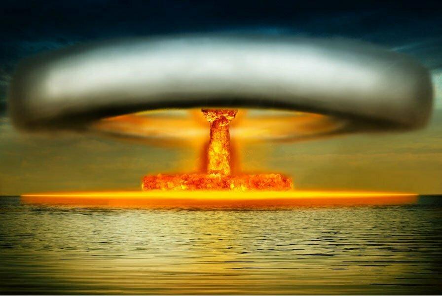 ilustração de explosão nuclear