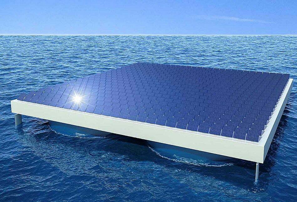 ilustração de Maior arquipélago do mundo feito de painéis solares