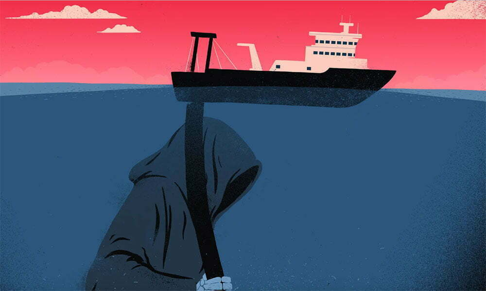 ilustração para Sobrepesca ameaça os oceanos